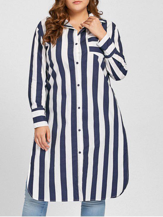 Camisa a rayas de bolsillo de alta ranura - Azul Purpúreo Única Talla