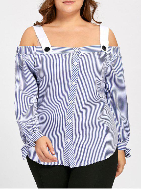 Tamanho Plus Bowtie Stripe Off The Shoulder Blouse - Azul 4XL