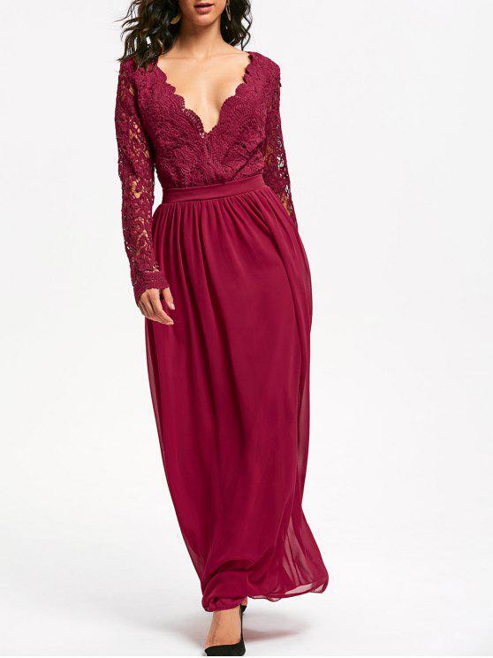 Lace Bodice Maxi Prom Dress RED: Maxi Dresses L | ZAFUL