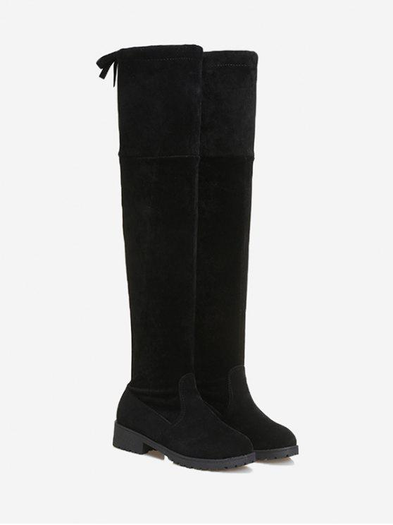 outfit Tie Back Low Heel Thigh High Boots - BLACK 37