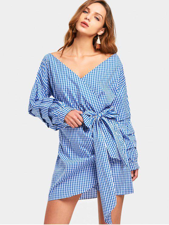فستان مصغر منقوش لف طويلة الأكمام - شريط S