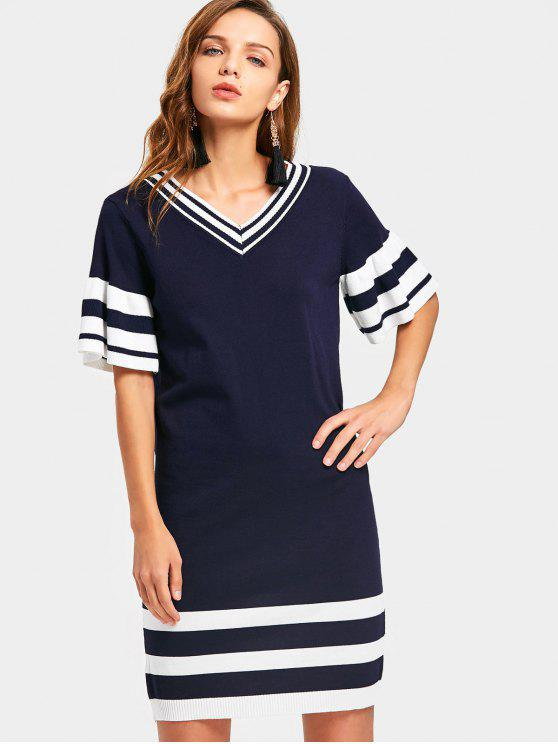 affordable V Neck Stripes Panel Sweater Sheath Dress - BLUE AND WHITE ONE SIZE