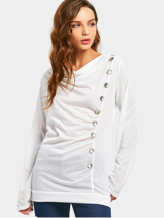 lady Draped Side Buttoned Blouse - WHITE XL