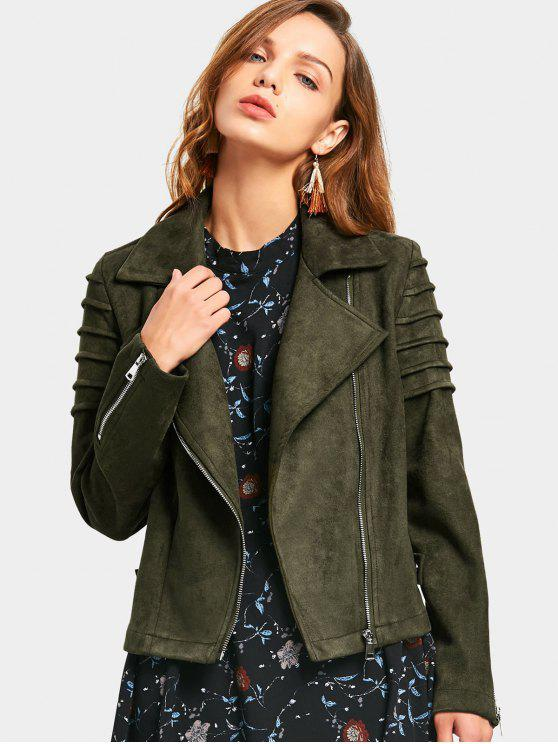 trendy Faux Suede Zip Up Jacket - ARMY GREEN S