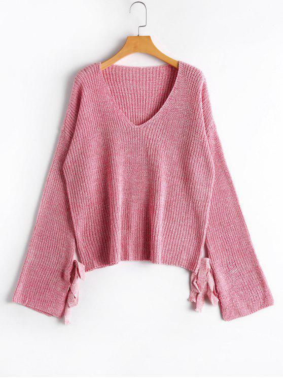 trendy V Neck Tied Sleeve Sweater - PINK ONE SIZE