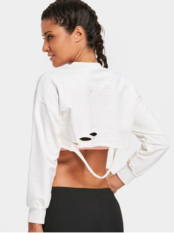 chic Cropped Ripped Sweatshirt - WHITE ONE SIZE