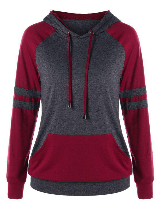 online Two Tone Raglan Sleeve Hoodie - GRAY AND RED XL