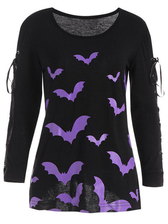 Criss Kreuz-langes Hülsen-Halloween-Schläger-T-Shirt - Schwarz XL