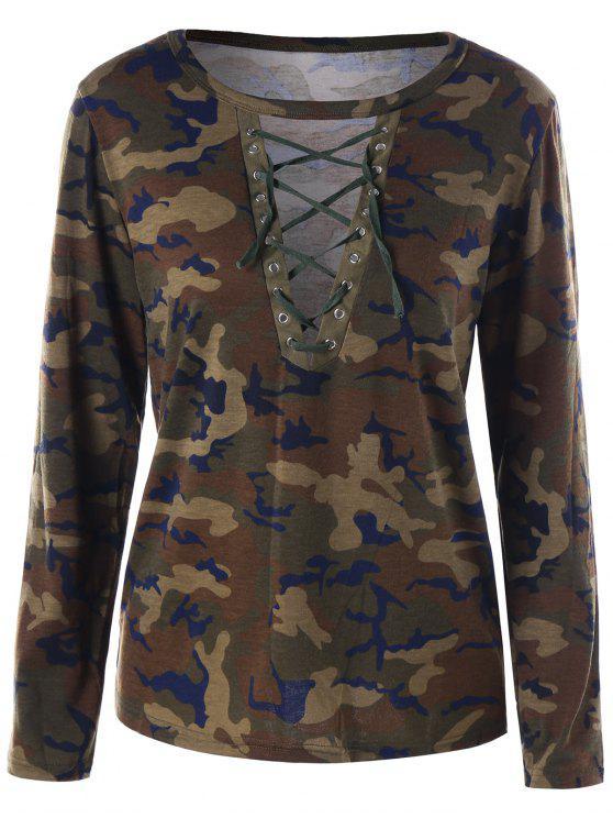Camouflage Lace Up T-shirt - ACU Camuflagem XL