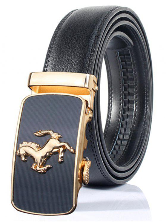 ladies Stylish Horse Shape Emboss Automatic Buckle Wide Belt - BLACK