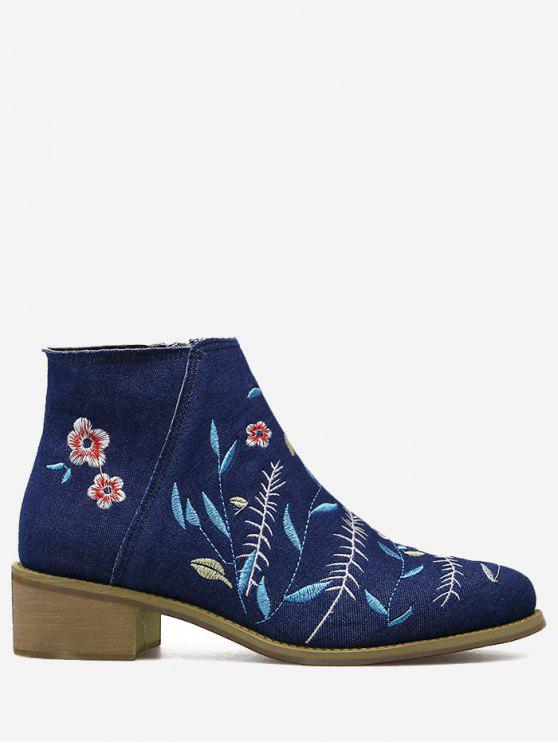 hot Embroidery Floral Denim Ankle Boots - DEEP BLUE 38