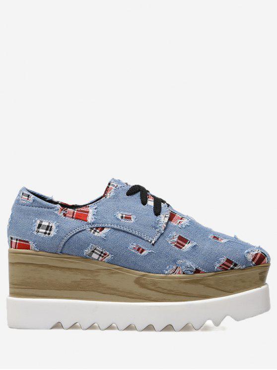 Plaid Denim Square Toe Wedge Shoes - Bleu 38