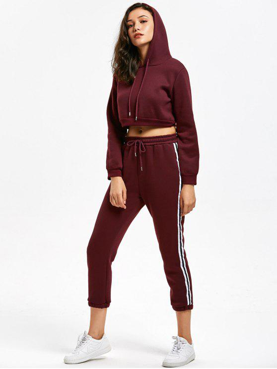 d8485d4d934f 33% OFF] 2019 Casual Cropped Hoodie And Stripes Trim Sports Pants In ...