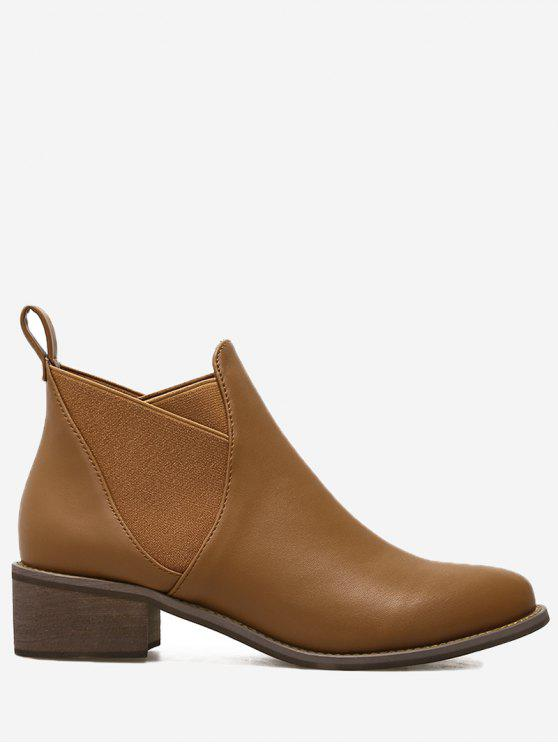 PU Leather Elastic Band Ankle Boots - Castanho 38