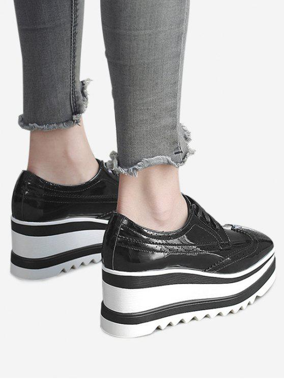 chic Stitching Wingtip Wedge Shoes - BLACK 37