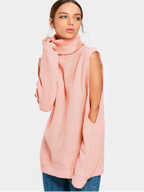 ladies Cut Out Sleeve Turtleneck Sweater - ORANGEPINK ONE SIZE