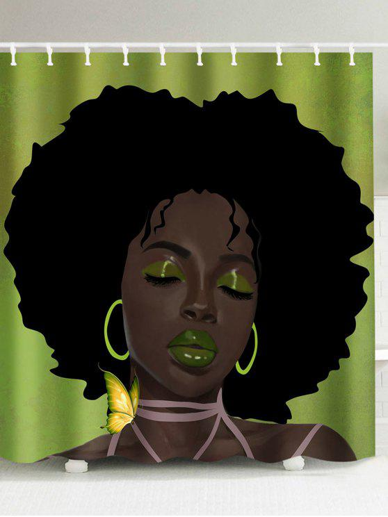 Sale Afro Hair Lady Immersed In Her Own World Waterproof Shower Curtain