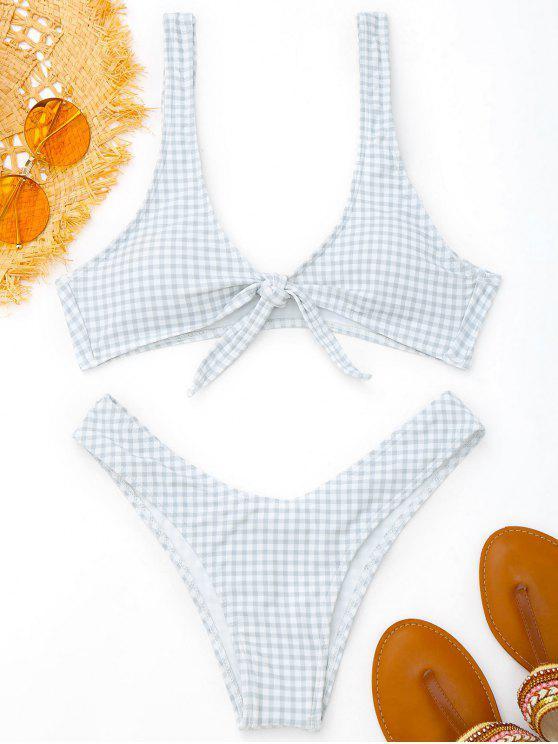Conjunto de bikini de tartán con lazo anudado - Gris y negro XL