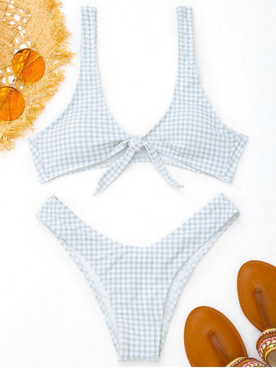 best Front Tie Thong Plaid Bikini Set - GREY AND WHITE S
