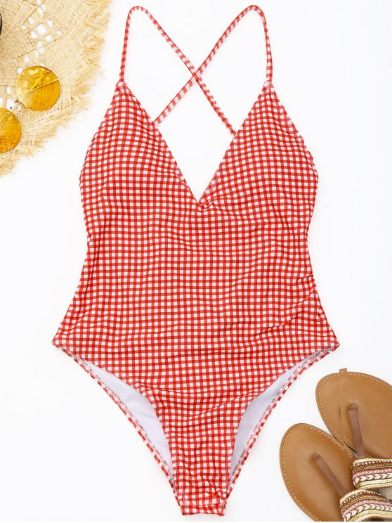 fashion Ruched High Cut Checked Swimwear - RED AND WHITE M
