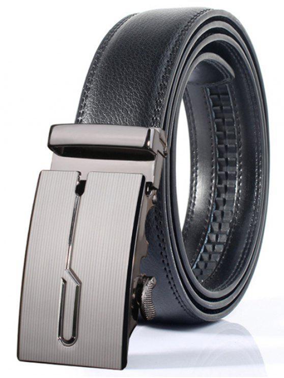 lady Stylish Polished Geometric Automatic Buckle Wide Belt - DEEP GRAY