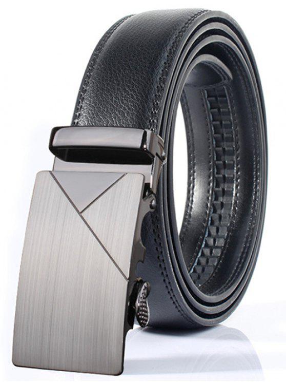 Cinturón Ancho Pulido Geométrica Estilo Hebilla Automática - Plata