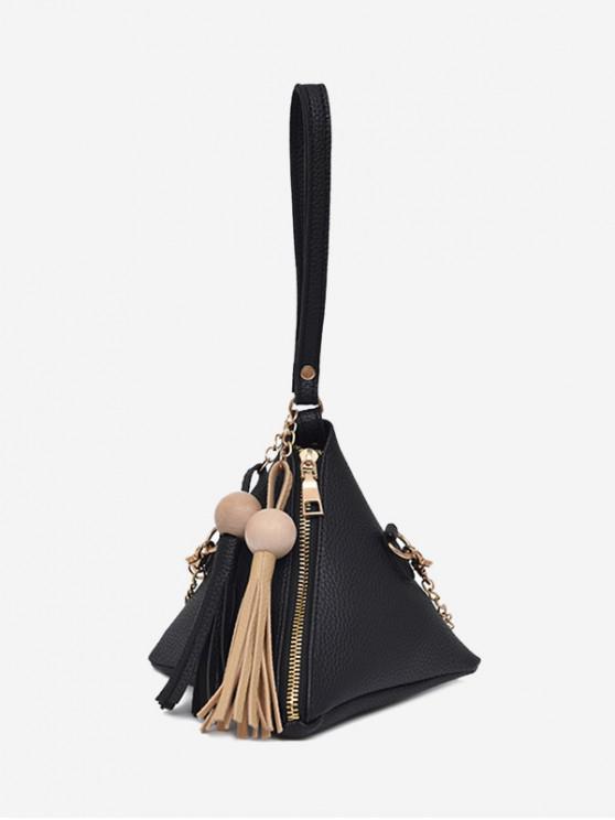 women Geometric Stereo Triangle Tassel Tote Bag - BLACK