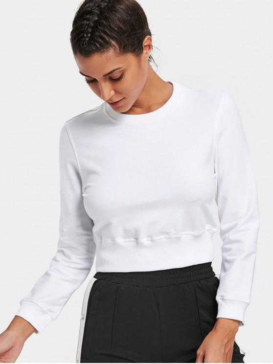 shops Crew Neck Casual Cropped Sweatshirt - WHITE S
