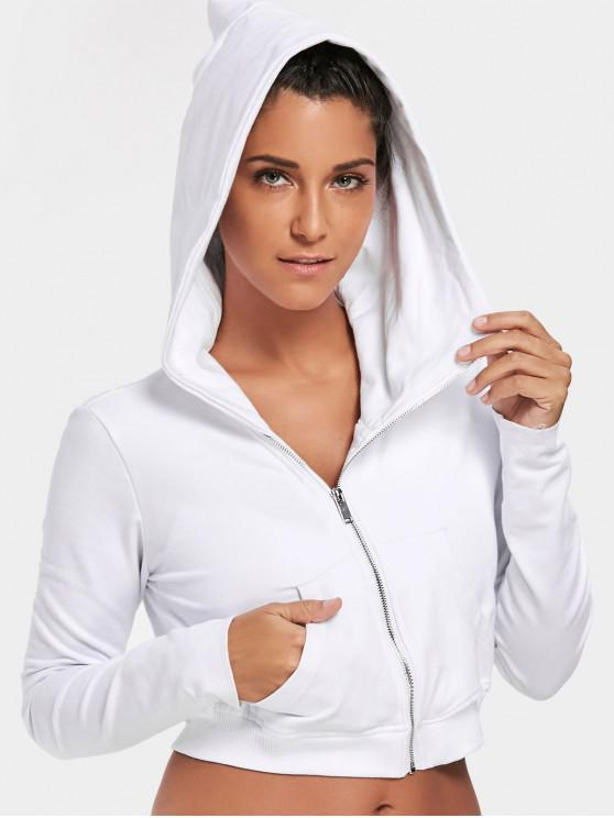 women Zip Up Cropped Sweatshirt - WHITE M