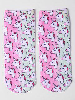 Cartoon Unicorn Ankle Socks - Light Pink