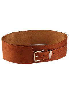 Metal Buckle Embellished Wide Waist Belt - Brown