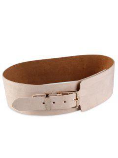 Metal Buckle Embellished Wide Waist Belt - Beige