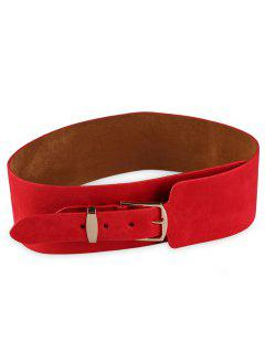 Metal Buckle Embellished Wide Waist Belt - Red