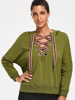 Lace Up Pullover Hoodie - Army Green S