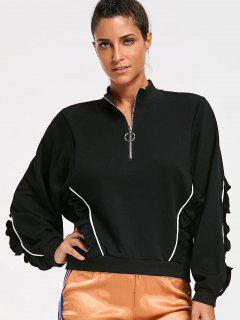 Ruffles Half Zipper Sweatshirt - Black M