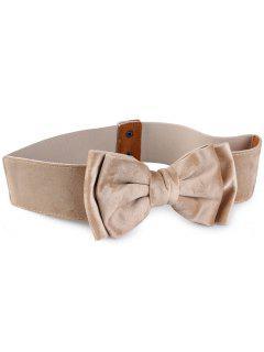 Vintage Bowknot Embellished Elastic Waist Belt - Beige