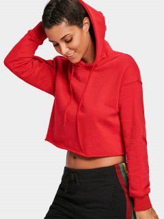 Pullover Cropped Sporty Hoodie - Red L