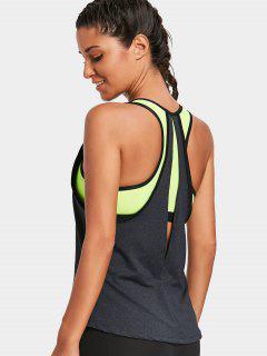 Back Slit Color Block Sporty Top - Deep Gray L
