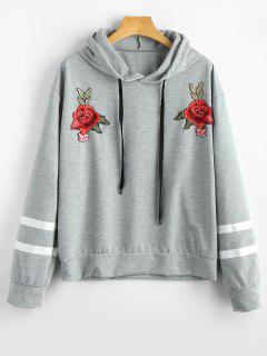 Floral Patched Striped Drawstring Hoodie - Gray S