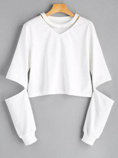 Crew Neck Cut Out Sleeve Sweatshirt - White S