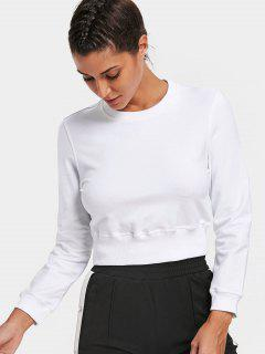 Crew Neck Casual Cropped Sweatshirt - White S