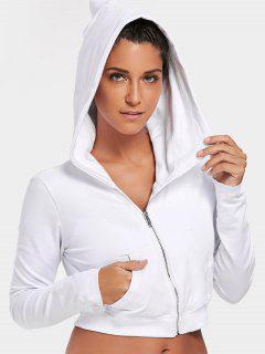 Zip Up Cropped Sweatshirt - White M