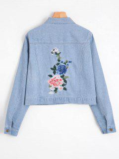 Flower Patched Faux Pockets Denim Jacket - Light Blue L