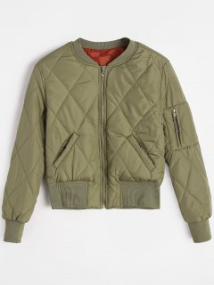 Zip Up Pilot Jacket With Pockets - Army Green S