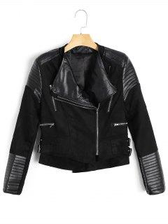 Asymmetric Zipper Faux Suede Jacket - Black M