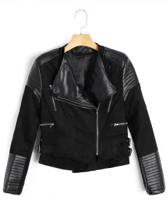 Asymmetric Zipper Faux Suede Jacket - Black S