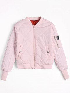 Badge Patched Zippered Pilot Jacket - Light Pink S