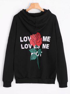 Side Slit Flower Letter Hoodie - Black S