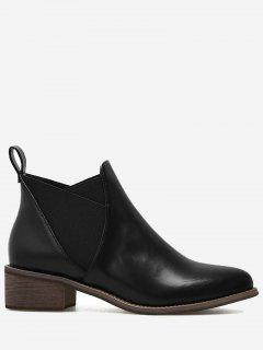 PU Leather Elastic Band Ankle Boots - Black 40