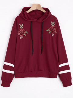 Floral Appliques Striped Hoodie - Deep Red M